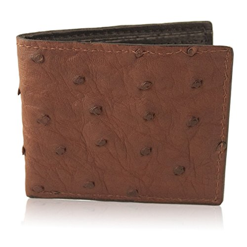 Brown Genuine Ostrich Skin Leather Bifold Wallet Handmade with 6 Card Slots
