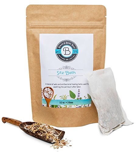 Postpartum Pads and Hemorrhoid Relief Sitz Bath Soak by Birds & Bees Teas - Organic Herbal Bath - External tea for Soothing and Healing Pain Relief. Includes 4 sachets you (Therapy Herbal Bath)