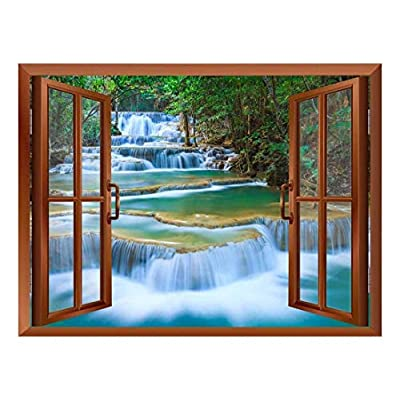 Dazzling Visual, it is good, Cascading Waterfalls in Tropical Forest Removable Wall Sticker Wall Mural