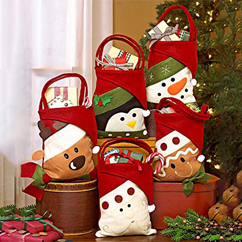 Eccoo House Christmas Candy Bags Gift Treat Bags for Favors and Decorations Santa Claus Snowman/Bear/ Elf Elk/Penguin