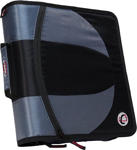 Case-it Dual 2-in-1 Zipper D-Ring Binder, 2 Sets of 1.5-Inch Rings with Pencil Pouch, Black, DUAL-101-BLK