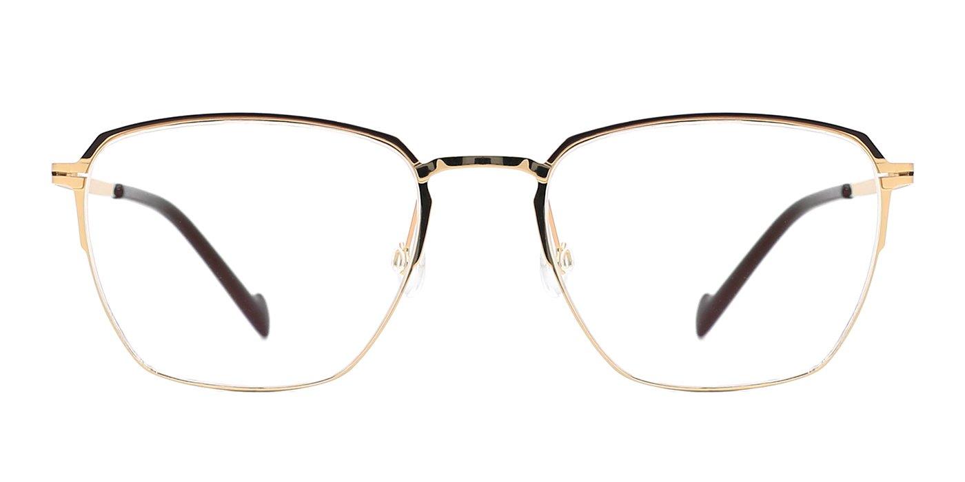 TIJN Thin Wayfarer Frame Fine Metal Eyeglass for Men Women (Gold, transparent)