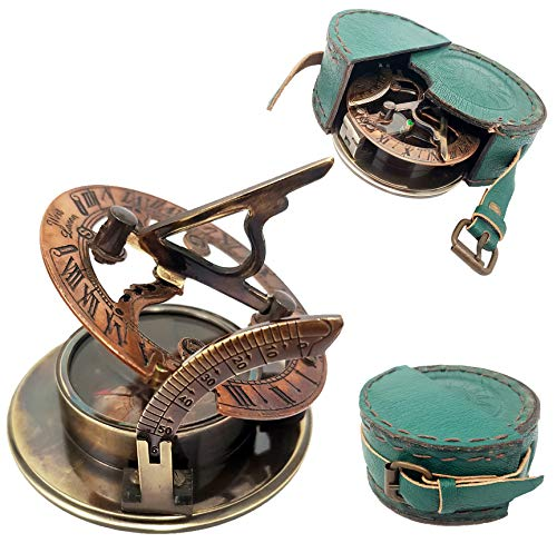 Sundial Nautical - Brass Nautical Handmade Brass Sundial Compass - Pocket Sundial -Brass Antiques West London. Beautiful Gift Item