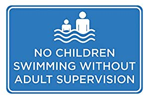 No Children Swimming Without Adult Supervision Print Blue White Picture Symbol