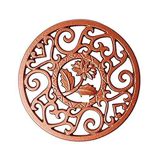 Copper Trivet - CHANMOL Cast Iron Trivet Decorative Trivet Mat- Heavy Duty Hot Pot Holder Pads, Non-slip Insulation Placemat with Vintage Floral Pattern- for Kitchen Dining Table Tea Pot Gift