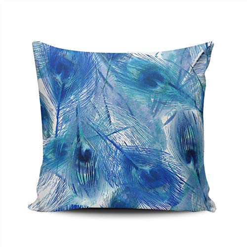 THUONY Pillowcase Home Decorative Peacock Feather Navy Blue on White 22X22 Inch Square Throw Pillow Case Cushion Cover Double Sides Printed (Set of 1) (Peacock Chair For White Sale)