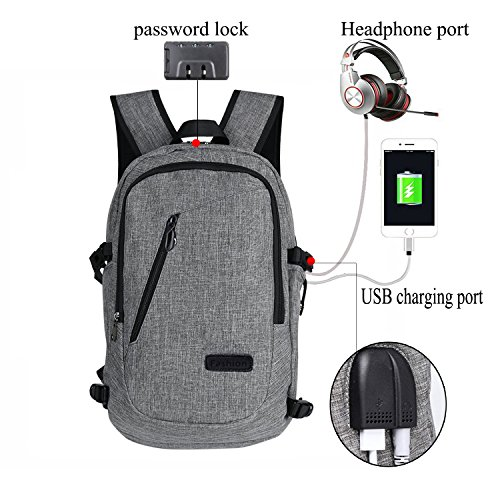 ckpack,Water Resistant Travel School College Bag with Headphone Port&USB Charging Hole and Lock,Business Laptop Backpack for Women and Men -Fits 12-16