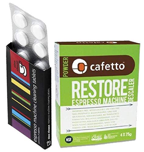 Espresso Machine Cleaning & Descaling Pack Cino Cleano 8 Tablets and Box of 4 Restore Sachets Perfect for all Breville Machines
