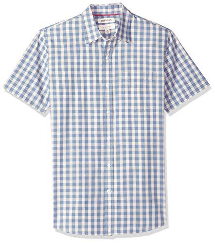 Goodthreads Men's Slim-Fit Short-Sleeve Plaid Poplin Shirt, -indigo check, XXX-Large Tall (Check Cotton Shirt)