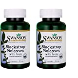 Swanson Blackstrap Molasses Elemental Iron (Ferrous Fumarate) 29 mg 120 Capsules (2 Pack)