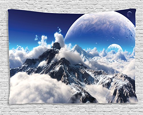 Capped Satin (Fantasy House Decor Tapestry by Ambesonne, Celestial View of Snow Capped Mountains and A Transparent Alien Planet, Wall Hanging for Bedroom Living Room Dorm, 60 W X 40 L Inches, White and NavyBlue)