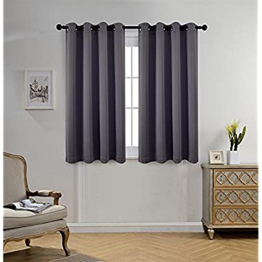 Miuco 1 Pair Thermal Insulated Grommet 52-Inch-by-63-Inch Blackout Window Curtain Panels with 2 Tie Backs, Dark Grey