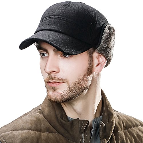 Mens Winter Baseball Cap with Ear Flap Hats Hunting Cold Weather Fitted Earflap Hats Wool Black L XL