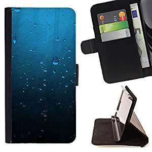KingStore / Leather Etui en cuir / Samsung Galaxy S3 MINI 8190 / Gotas de agua azul