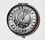 Steampunk Clock Compact Mirror Victorian Industrial Pocket Mirror for Cosmetics Makeup