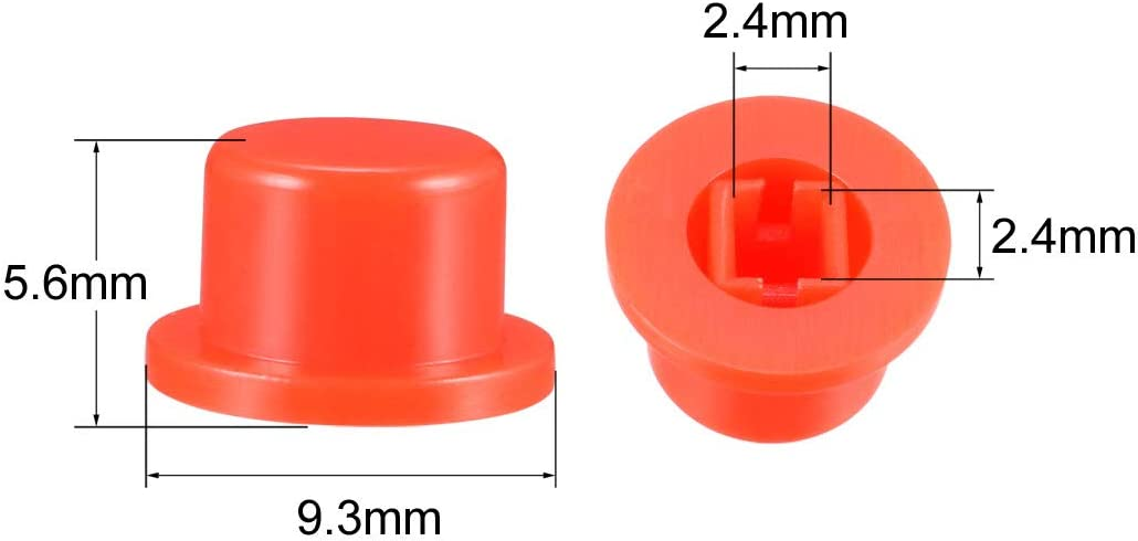 20Pcs Plastic 9.3x5.6mm Push Button Switch Caps Cover Red Keys for 6x6x7.3mm Tact Switch
