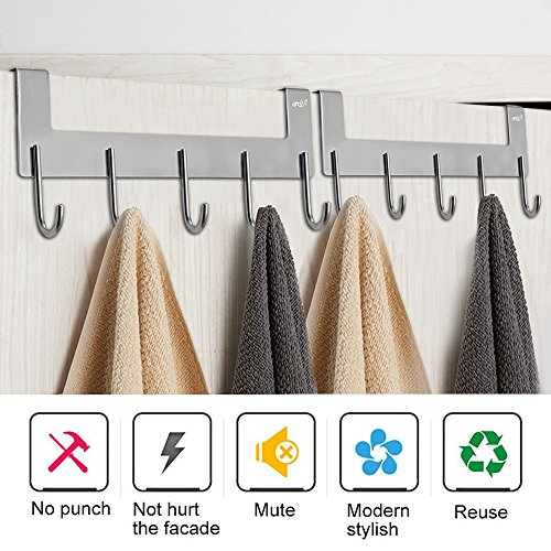 Over The Door Hook Hanger,Rongyuxuan Heavy Duty Organizer for Coat Clothes Towel Bag Robe -5 Hooks,Wall Mount Tool Holder for Home Storage Organizer,Aluminum,White (Round Hook 2 Pack, Silver) by Rongyuxuan (Image #2)