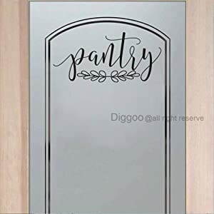 "Diggoo Pantry Door Decal Pantry Wall Decal Glass Door Decal Vinyl Wall Words Vinyl Lettering Kitchen Decor (Black,8.5"" h x 18"" w)"