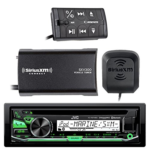 JVC KD-R97MBS Marine Boat CD MP3 SiriusXM Ready Pandora AM/FM Radio Player With and SiriusXM SXV300v1 Connect Vehicle Tuner Bundle With MB Quart N1-WBT Waterproof Wired Bluetooth Preamp Controller
