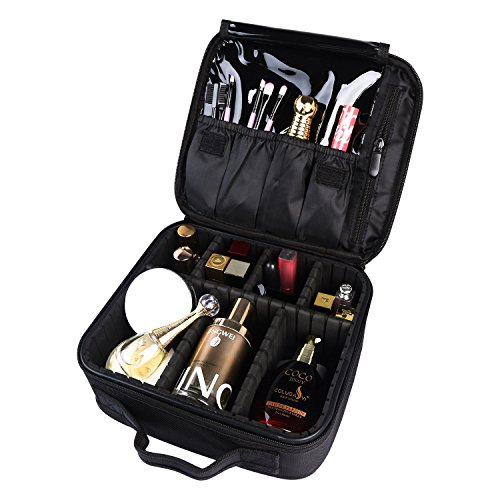 Makeup Bag Train Case Professional Multifunction Makeup Bag Makeup case Cosmetic Bag Portable Travel Toiletry Bag Double Layer Waterproof for Women Girls(Black) by AUTO PDR