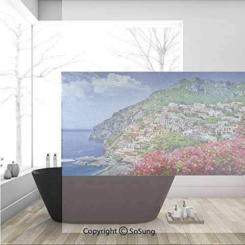3D Decorative Privacy Window Films,Scenic View of Positano Amalfi Naples Blooming Flowers Coastal Village Image,No-Glue Self Static Cling Glass film for Home Bedroom Bathroom Kitchen Office 36x24 Inch]()