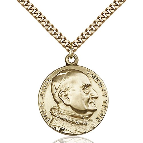 Gold Filled St. John XXII Pendant 1 x 7/8 inches with Heavy Curb Chain by Bonyak Jewelry Saint Medal Collection