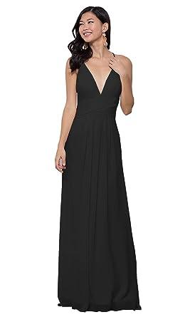 2dcaf84fc37da KKarine Women's Deep V-Neck Chiffon Spaghetti Straps Prom Dress Long Formal  Ball Gown (