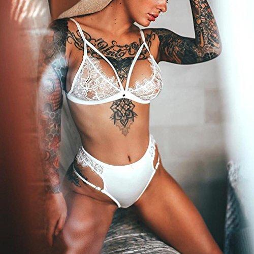 De Tanga Hueco Halter Abierto Blanco LenceríA Encaje Erotica Mujer Keepwin Busto Conjunto Sujetador Y w8UYcEx0