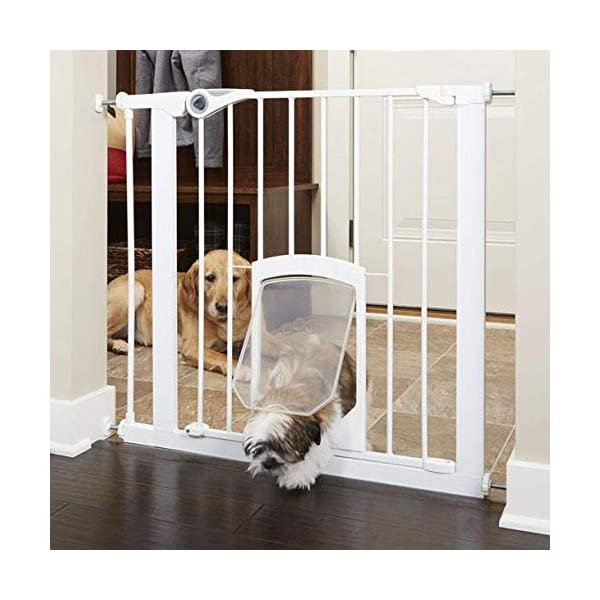 North States MyPet 38″ Wide Petgate Passage: Secure gate with Small Lockable pet Door. Pressure Mount. Fits 29.8″ – 38″ Wide (30″ Tall)