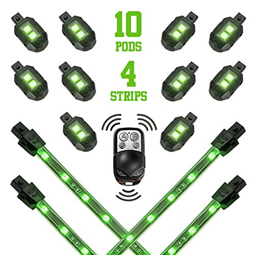 (2nd Gen Premium GREEN 10 PODS + 4 STRIPS Motorcycle Engine & Ground Underglow Neon Accent Light Kit with 3 Mode 4-key Remote …)