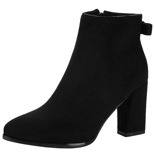 RAZAMAZA Botines de Moda Tacon Ancho Alto con Bowknot Cremallera para Mujer: Amazon.es: Zapatos y complementos