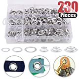 "Hilitchi 230 Sets 2/5"" 1/2"" 14/25"" Aluminum Heavy Duty Grommets Eyelets with Washers for Curtain Leather Canvas Belts and DIY with Storage Box"