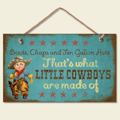 New Sweet Little Cowboys Sign Wood Plaque Western Art Decor Boots Hats Picture