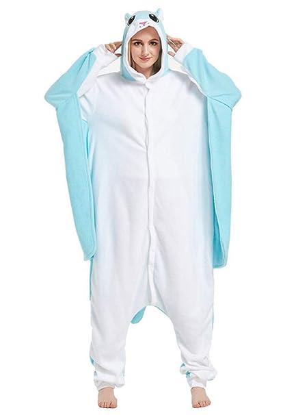Kigurumi Pijama Animal Entero Unisex para Adultos con Capucha Cosplay Pyjamas Azul Rata de Vuelo Ropa de Dormir Traje de Disfraz para Festival de Carnaval ...