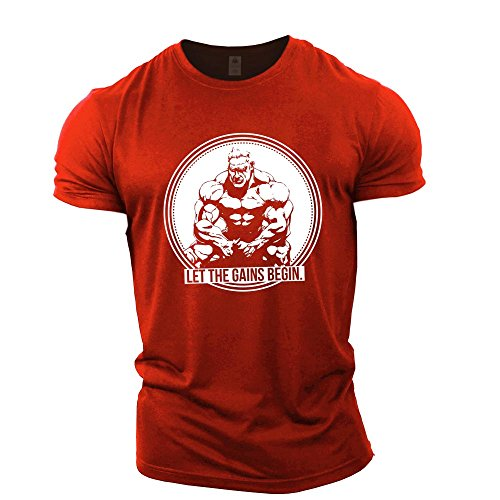 Jay Cutler Shirt - GYMTIER Mens Bodybuilding T-Shirt - Jay Cutler Let The Gains Begin - Gym Training Top Red