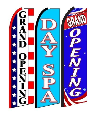 Grand+Opening+,+Day+spa, Grand Opening King Swooper Feather Flag Sign- Pack of 3 (Hardware Not Included) (Opening A Spa)