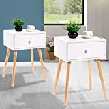 JAXPETY Set of 2 Bedside Table Solid Wood Legs Nightstand with White Storage Drawer (White)