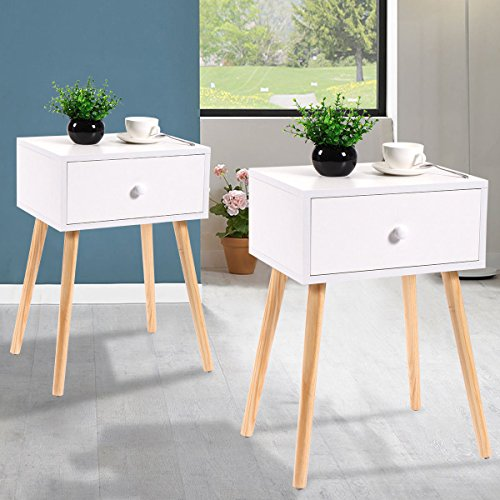JAXPETY Set of 2 Bedside Table Solid Wood Legs Nightstand with White Storage Drawer (White) by JAXPETY