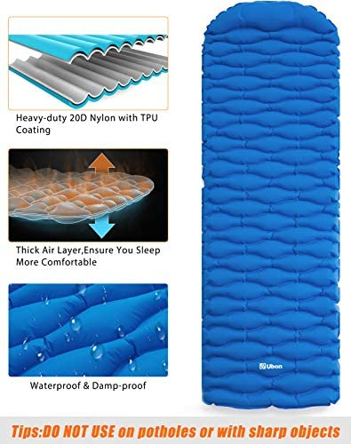 Ubon Camping Mat Inflatable Sleeping Pad with Pillow Ultralight Sleeping Mat for Backpacking Hiking