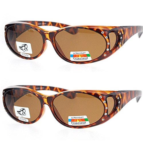 2 Pair Polarized Rhinestone Fit Over Wear Over Prescription Glasses Sunglasses -RS2866POL- ()