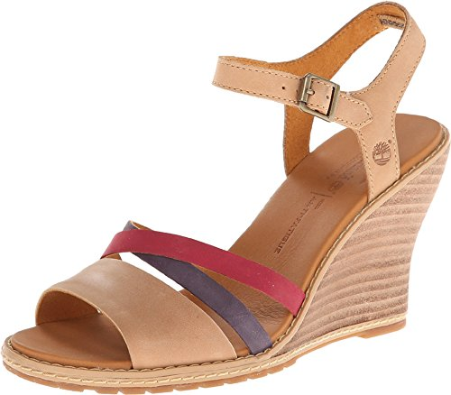 Timberland Women's Maeslin Ankle-Strap Wedge Sandal,Tan/Red/Plum,10 M US