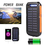 Eachbid 20000mAh Waterproof Solar Charger Battery Portable LED Dual USB output Solar Powered Phone Charger for iPhone, iPod, iPad, Samsung, HTC, GPS Camera Black Orange
