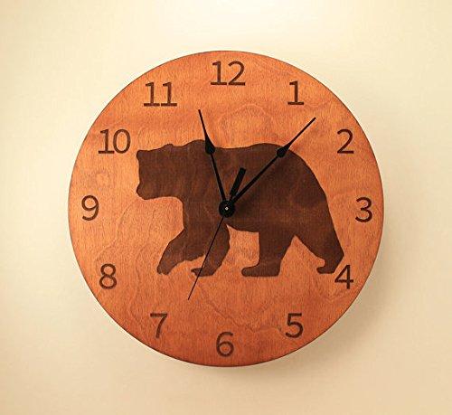 10.5 inch Bear clock Animal clock Wildlife clock Wood clock Wall clock Wooden wall clock Black bear Nature clock Hunting decor (Decor Hunting Wall Clock)