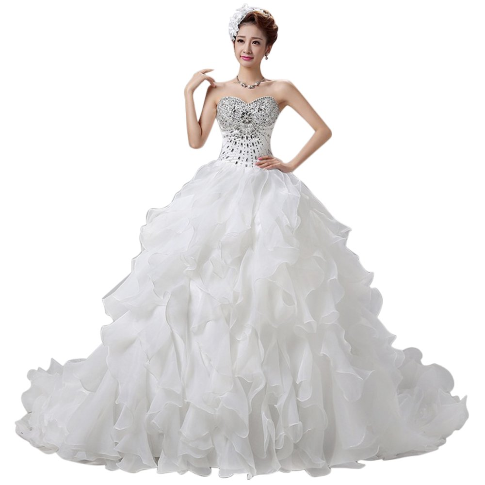 LIWA Beading Ruffles Long Wedding Dress Strapless Court Train Bandage Tutu Bridal Veil (small, white) by LIWA (Image #7)