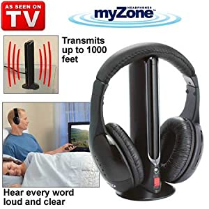 myzone my zone wireless headphones as seen on tv hear every word electronics. Black Bedroom Furniture Sets. Home Design Ideas