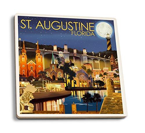 Lantern Press St. Augustine, Florida - Night Scene (Set of 4 Ceramic Coasters - Cork-Backed, Absorbent)