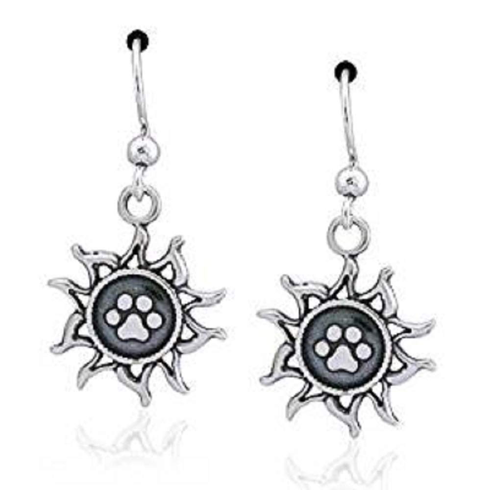 STERLING SILVER YOU LIGHT UP MY LIFE SUN WITH DOG PAW PRINT DANGLE EARRINGS