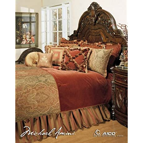 Michael Amini 13 Piece Woodside Park Comforter Set King Green Gold Red