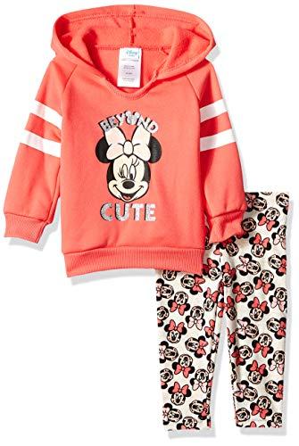 Disney Baby Girls' 2 Piece Minnie Hoodie and Printed Legging Set, Coral 0-3M ()
