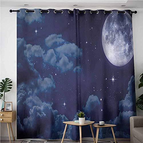 Matte Black Clouds Finials - XXANS Grommet Window Curtains,Night Sky,Full Moon Lunar Clouds,Blackout Window Curtain 2 Panel,W96x72L